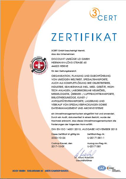 Zertifikat nach DIN EN ISO 14001 für Discount-Umzüge