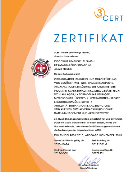 Zertifikat nach DIN EN ISO 9001 für Discount-Umzüge